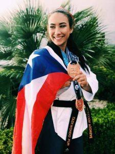 Fabiola Ruíz en la final del Mundial de Poomsae
